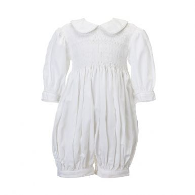 White Hand Smocked Romper | Patrizia Wigan Designs